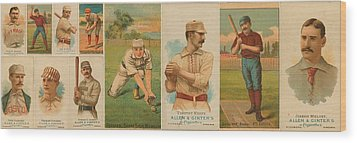 Old Baseball Cards Collage Wood Print