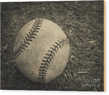 Old Baseball Wood Print by Edward Fielding
