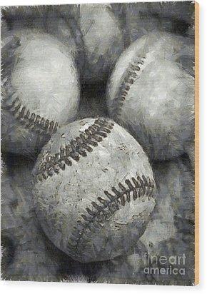 Old Baseballs Pencil Wood Print