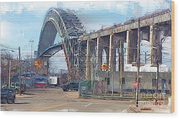Old Bayonne Bridge Wood Print by Rod Pena
