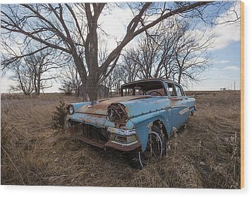 Wood Print featuring the photograph Old Blue by Aaron J Groen