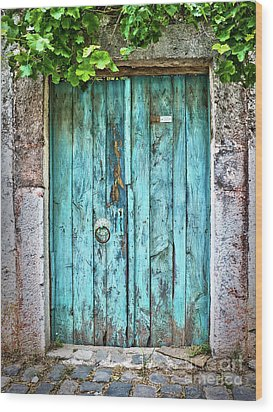 Old Blue Door Wood Print by Delphimages Photo Creations