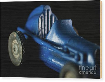 Old Blue Toy Race Car Wood Print by Wilma Birdwell