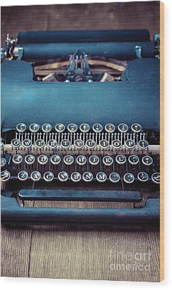 Wood Print featuring the photograph Old Blue Typewriter by Edward Fielding