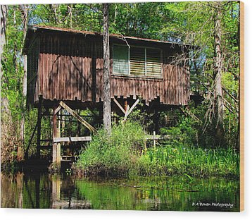 Wood Print featuring the photograph Old Boat House by Barbara Bowen