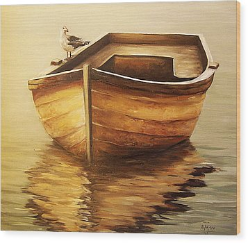 Wood Print featuring the painting Old Boat by Natalia Tejera