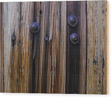 Old Door With Bolts And Nails Wood Print