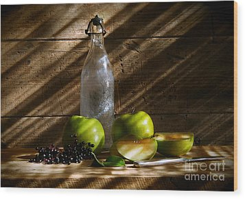 Old Bottle With Green Apples Wood Print by Sandra Cunningham