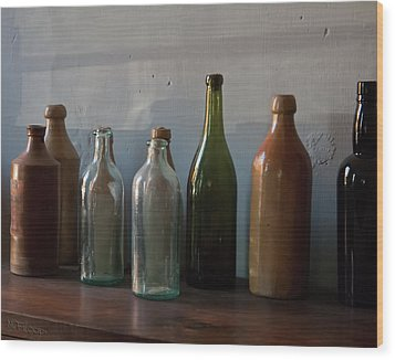 Old Bottles In North Light Wood Print by Michael Flood
