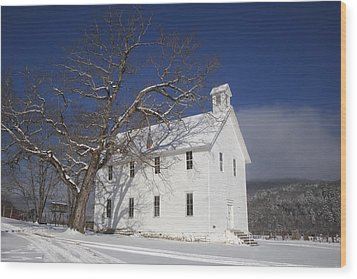 Wood Print featuring the photograph Old Boxley Community Building And Church In Winter by Michael Dougherty