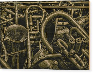 Old Brass Musical Instruments Wood Print by Dave Gordon