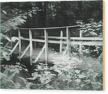 Old Bridge In The Woods Wood Print by Rena Trepanier