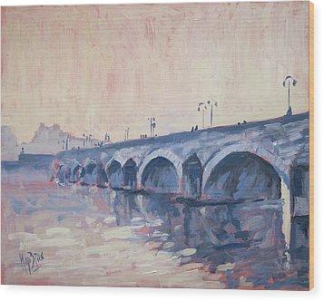 Old Bridge Of Maastricht In Warm Diffuse Autumn Light Wood Print by Nop Briex