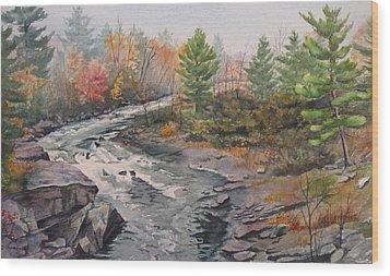 Old Burleigh Stream Wood Print by Debbie Homewood