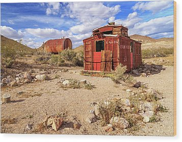 Wood Print featuring the photograph Old Caboose At Rhyolite by James Eddy