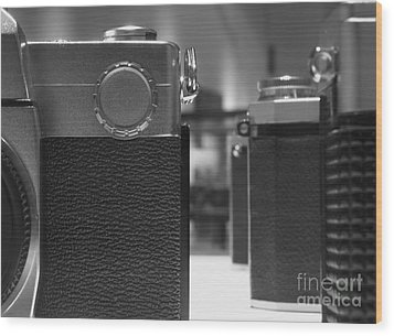 Old Camera Line-up Wood Print by Yali Shi
