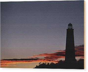 Old Cape Henry Sunrise Wood Print by Skip Willits