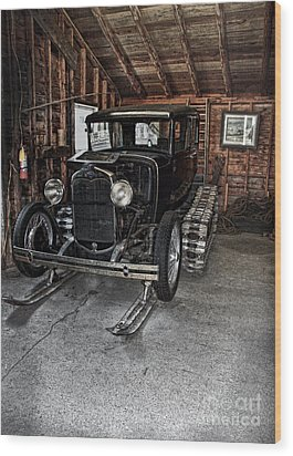Old Car Snow Ski Wood Print by Joanne Coyle