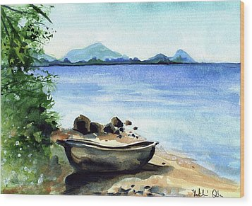 Wood Print featuring the painting Old Carved Boat At Lake Malawi by Dora Hathazi Mendes
