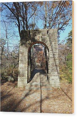 Old Ccc Swinging Bridge Wood Print by Joel Deutsch