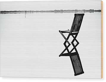 Old Chair In Calm Water Wood Print