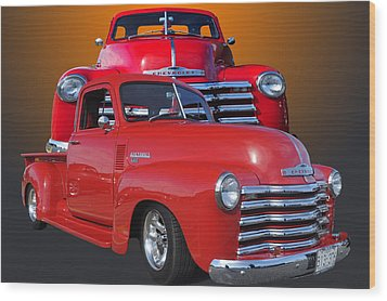 Old Chev Wood Print by Jim  Hatch
