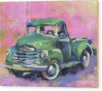 Old Chevy Chevrolet Pickup Truck On A Street Wood Print by Svetlana Novikova