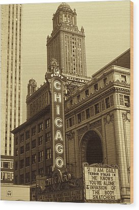Old Chicago Theater - Vintage Photo Art Print Wood Print