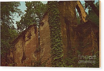 Old Church Ruins  Wood Print by Ruth  Housley