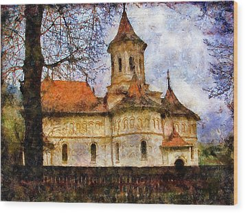 Old Church With Red Roof Wood Print