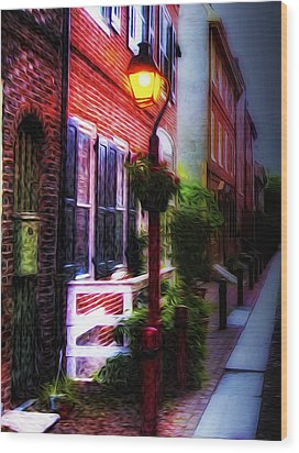 Old City Streets - Elfreth's Alley Wood Print by Bill Cannon