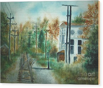 Old Cn Station Fort Langley Bc Wood Print by Vivian  Mosley