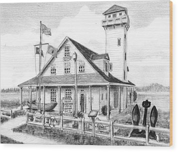 Old Coast Guard Station Wood Print