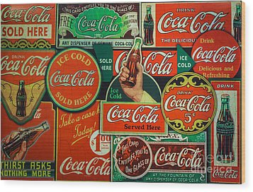 Old Coca-cola Sign Collage Wood Print by Mitch Shindelbower