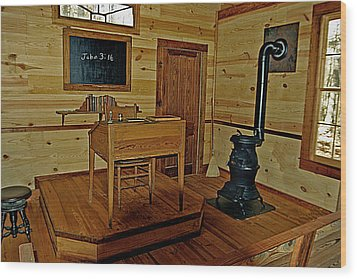 Old Country School Room Wood Print by Ralph  Perdomo