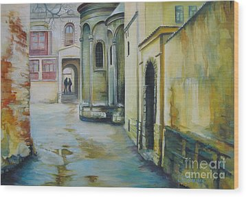 Wood Print featuring the painting Old Courtyard by Elena Oleniuc