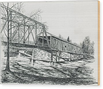 Old Covered Bridge Wood Print by Samuel Showman