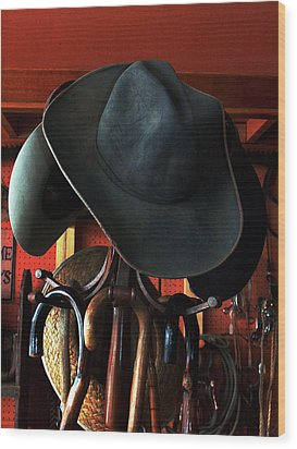 Wood Print featuring the photograph Old Cowboys Never Die by Irma BACKELANT GALLERIES