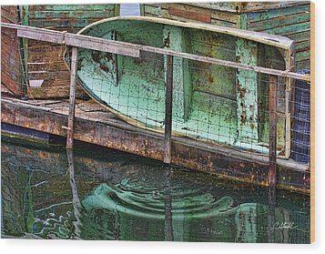 Old Crusty Dinghy Wood Print
