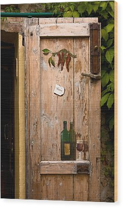 Old Door And Wine Wood Print by Sally Weigand