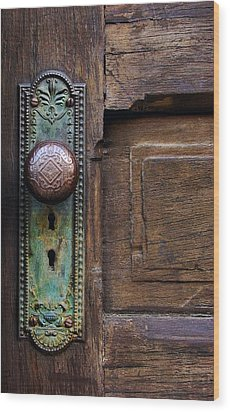 Old Door Knob Wood Print by Joanne Coyle