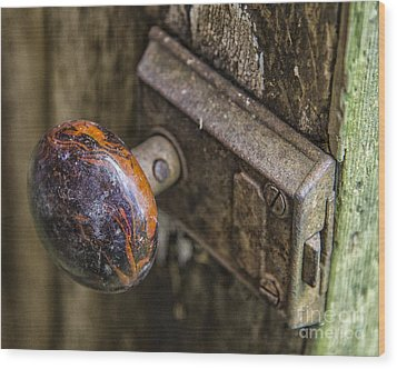 Old Door Knob Wood Print by JRP Photography