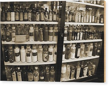 Old Drug Store Goods Wood Print by DigiArt Diaries by Vicky B Fuller