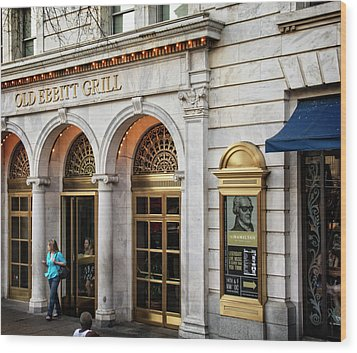 Old Ebbitt Grill Wood Print by Chrystal Mimbs
