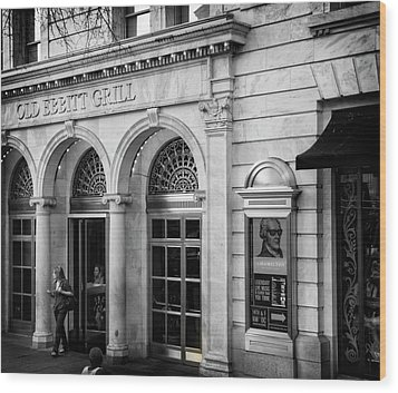 Wood Print featuring the photograph Old Ebbitt Grill In Black And White by Chrystal Mimbs