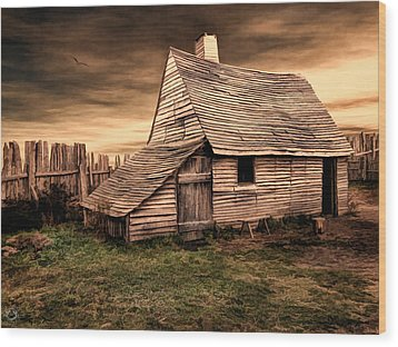 Old English Barn Wood Print by Lourry Legarde