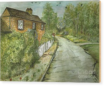 Wood Print featuring the painting Old English Cottage by Teresa White