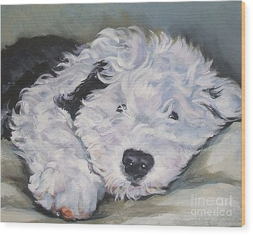 Old English Sheepdog Pup Wood Print