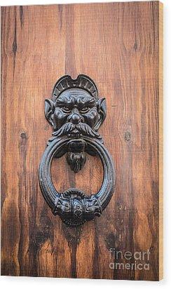 Old Face Door Knocker Wood Print by Edward Fielding