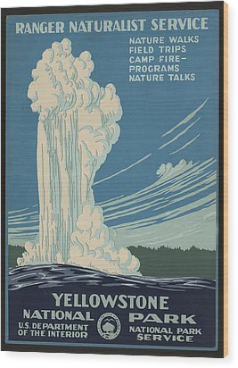 Old Faithful At Yellowstone Wood Print by Unknown